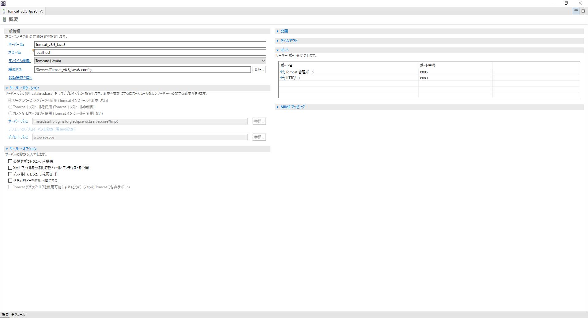 Apache Tomcatサーバ構成画面例